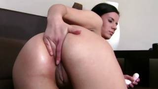 Amazing playgirl is fucking herself with marital-device