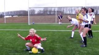 Perfect little lesbian whores play on a field