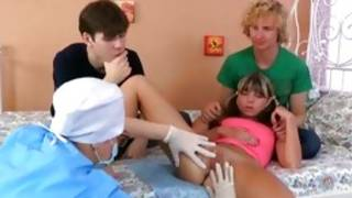 Two rookie dues are taking care of a hammering diaper lover chick's milk cans