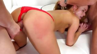 One hot Russian model is gangbanged by 2 beefy and strong men