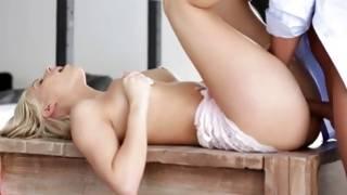 Flirtatious blonde hottie is sucking on his beefy intense penis