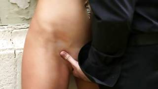 With eye bondage horny playgirl is kissed by a dude