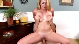Breasty blonde milf jumps on a tough vibrator of her BF