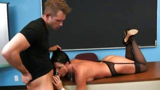 Incredible sexual gf in black nylons has sexual intercourse on professor table in the middle of classes