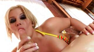 Rich and tanned blonde with tight marangos is jumping the hell out of her man
