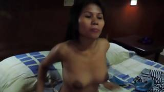 Enchanting hot choco model with hot bosoms is deep giving a French his weighted penis