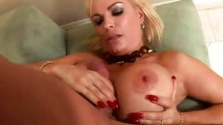 Blonde vulgar doxy is sucking on a vigorous cock