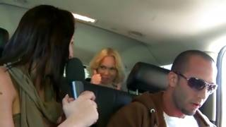 Crazy bitches have joy in the car with chap