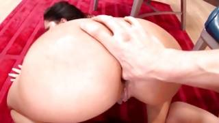 Unsupple dark-haired with heavy booty is fucked coarse by her strong creature