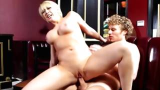 Enticed young glamorous girl in bar is smashed by a stranger with huge sweetmeat