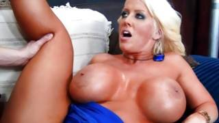 Tanned petite blonde with colossal whoppers is used by her younger excellent