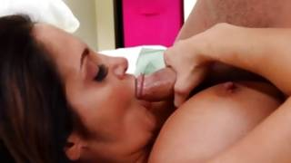 Bulky milf takes a colossal cock in her mouth and her beaver