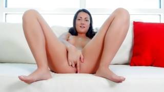 Experienced and kissable dark-haired is blowbanged thorough her thrilling pussy