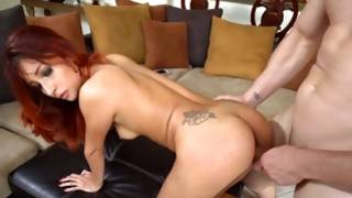 A flexible red haired bitch sucks and rides a fatty cock