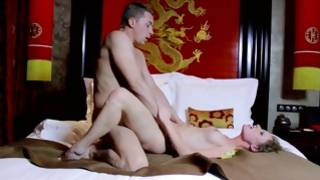 Stunning young girlfriend riding on gigantic prick