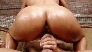 Oily naughty porn star screaming while drilled hardcore
