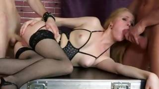 Fiery threesome with blonde kissable chick