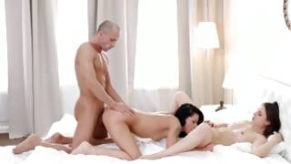 Fantastic MMF sex with 2 stunning whores