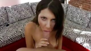 Dark-haired tasty Mrs. is kneeling during oral-job