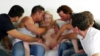 Long-haired petite blonde is being intensively team-fucked by 5 fellows