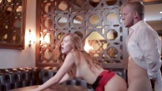 Scandalous man is fucking her wonderful cum-hole