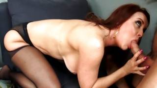 Incredible milf with brushy pussy is sucking his dick crude and with enormous kindness