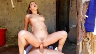 Barn Thumping with a petite tiny tits lassie and a guy