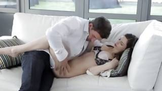 Tremendous couple has desirable sensual sex on the sofa