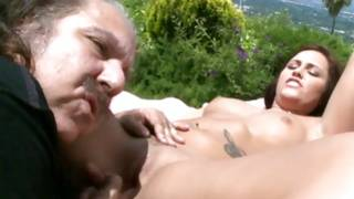 Huge dirty mature person is fucking a slut outside