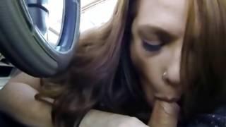 Shaggy harlot in the car looks unbelievably nice