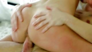 Blonde with massive bumpers rides and fucked doggystyle