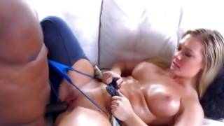 Oiliest blond with crazy bra buddies is wanking off a fleshy sweetmeat of her favored bf