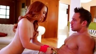 Red haired furious bitch is jerking a meaty rod