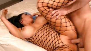 Provocative fishnet dressed tramp is hammered and pleased with mouth by a Mr.