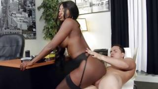 Sexy afro prostitute wildly pussy penetration with a white boy