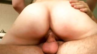 Delicious ginger-haired sweetheart riding on bigger ramrod